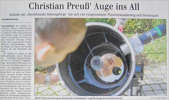 General-Anzeiger: Christian Preuß' Auge ins All