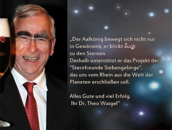 Aalkönig Theo Waigel unterstützt die Sternfreunde Siebengebirge