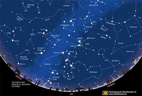 Der Sternenhimmel im Dezember 2012, Quelle: VdS
