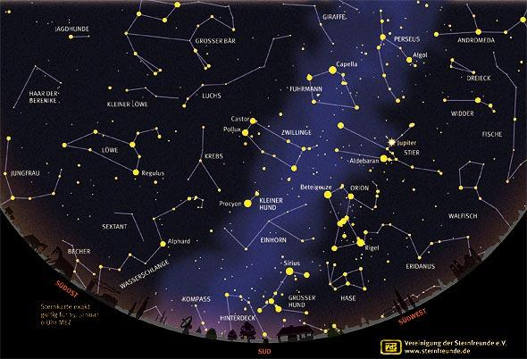 Sternenhimmel im Januar 2013, Quelle VdS