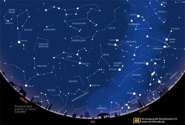 Der Sternenhimmel im Februar 2013, (c) VdS