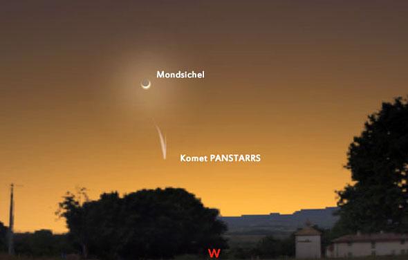 Komet Panstarrs steht am 13.03.2013 unweit der schmalen Mondsichel