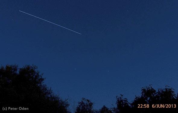 Die ISS über Bonn-Neu Vilich, 6. Juni 2013, (c) Peter Oden