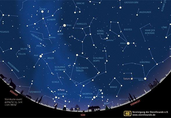 Sternenhimmel im Juni 2013, Quelle: VdS