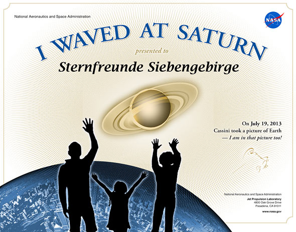 I Waved At Saturn, (c) NASA, Sternfreunde Siebengebirge