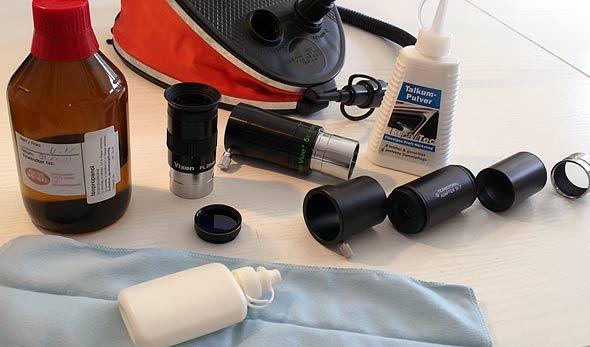 Ausrüstung zur richtigen Okularreinigung und Pflege, (c) Daniel Bockshecker