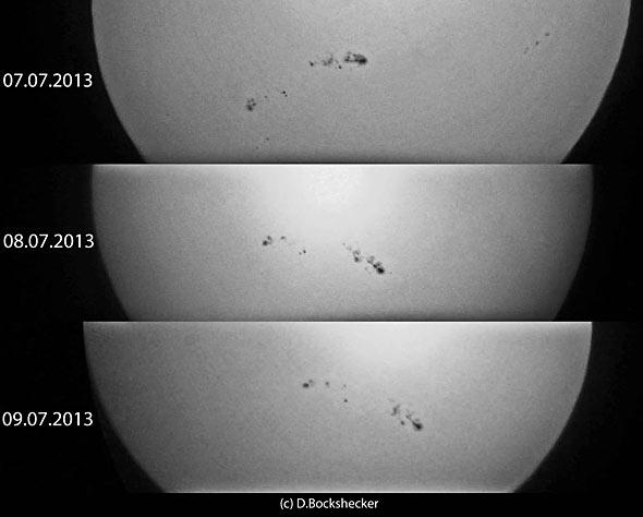 Sonnenflecken, 7.-9. Juli 2013, (c) Daniel Bockshecker