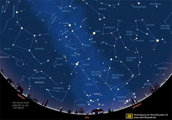 Sternenhimmel im Juli 2013, Quelle: VdS
