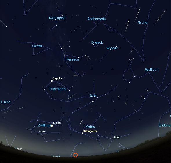 Perseiden Maximum, Quelle Stellarium