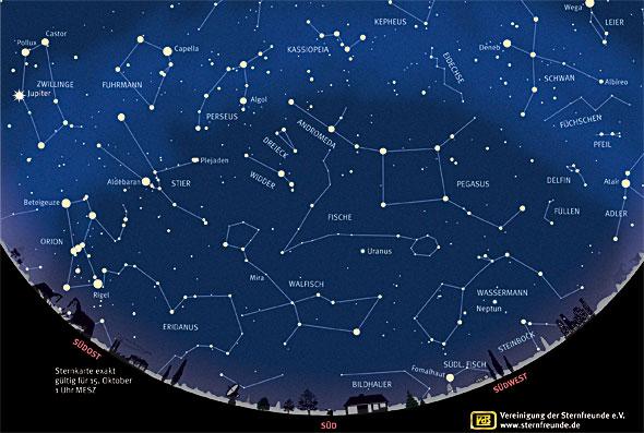 Sternenhimmel im Oktober 2013, Quelle: VdS