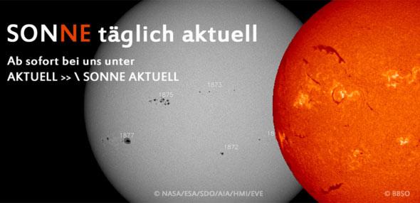 SONNE täglich aktuell, © NASA/ESA/SDO/AIA/HMI/EVE und © BBSO