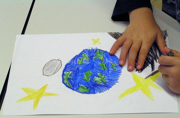 Erde, Mond und Sterne, (c) Schüler der OGS Am Reichenberg