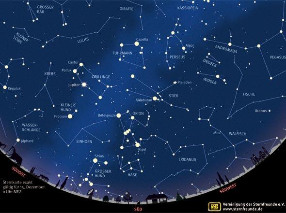 Sternenhimmel im Dezember, Quelle VDS astro