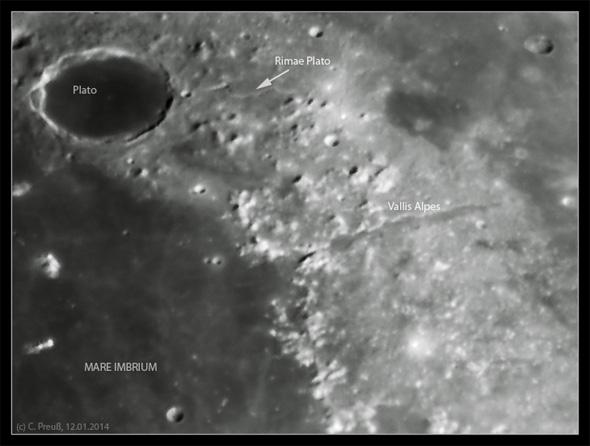 Plato und Mare Imbrium, 12.01.2014, (c) C. Preuß