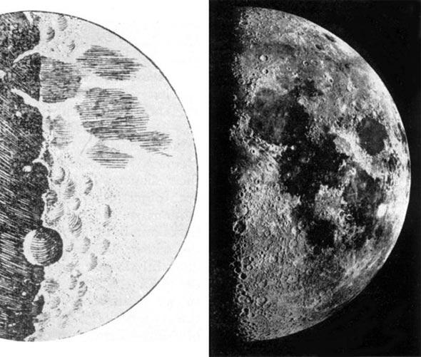 Mondzeichnung (links) von Galilei Galileo von 1610