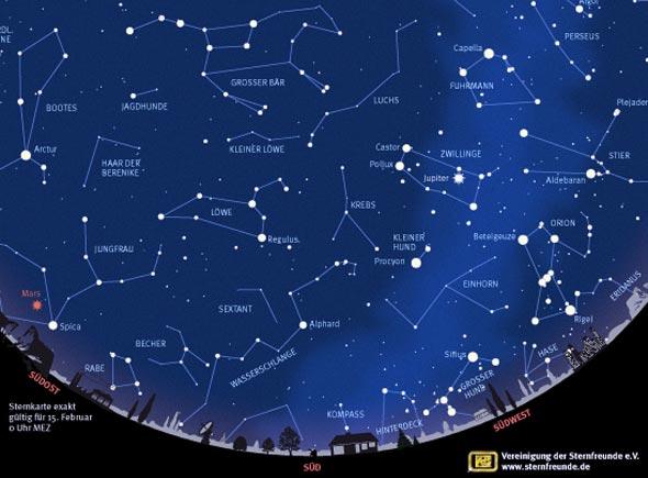 Sternenkarte Februar 2014, (c) VDS