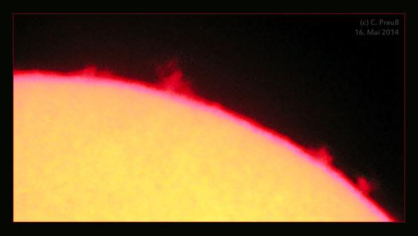 Der Sonnenrand in h-alpha, (c) C. Preuß