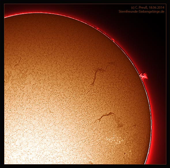 Sonne in h-alpha, am 18.06.2014, (c) C. Preuß