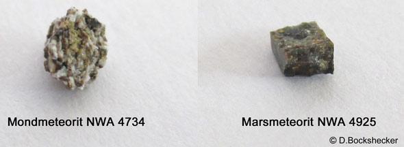 Der Mondmeteorit setzt sich aus dem Regolith (Gesteinsstaub) der Mondoberfläche zusammen, während der Marsmeteorit ein Olivin aus 1,00 - 1.50 Tiefe der Marsoberfläche ist, (c) D. Bockshecker