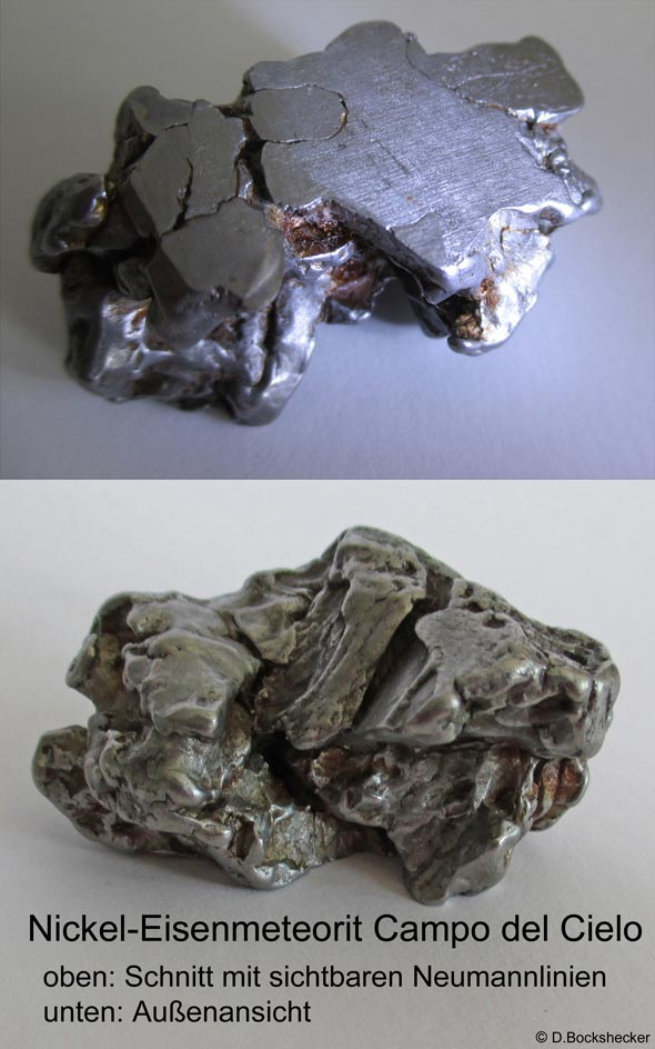 Eine typische Ansicht eines Nickel-Eisenmeteoriten, (c) D. Bockshecker