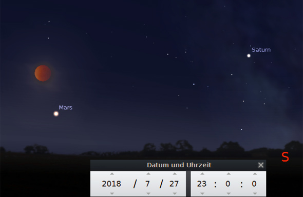 Totale Mondfinsternis am 27. Juli 2018, Quelle: Stellarium
